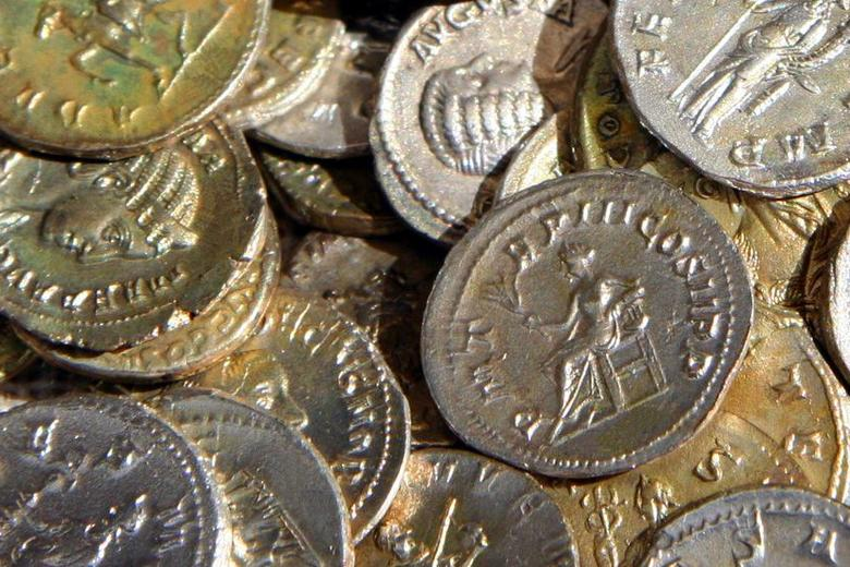 Piles of historical coins