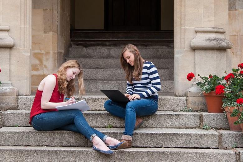 Students study outside