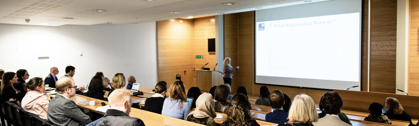 Lecturer speaks to students